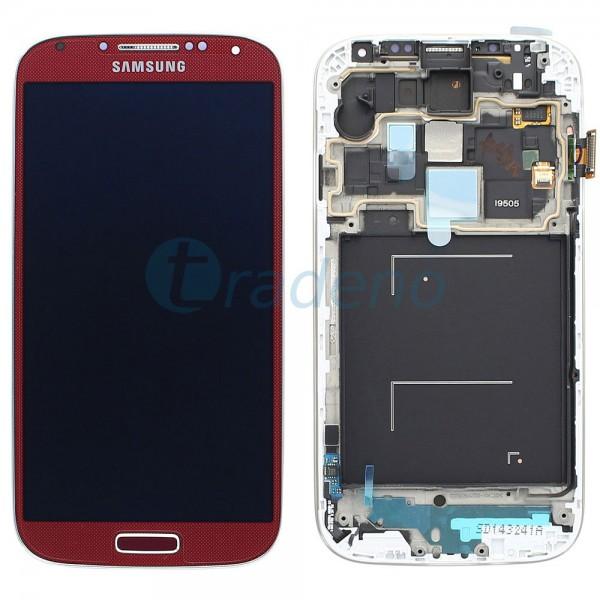 Samsung I9505 Galaxy S4 - Display Einheit - LCD + Touchscreen + Rahmen, Rot