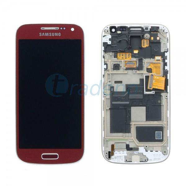 Samsung I9195 Galaxy S4 Mini - Display Einheit - LCD + Touchscreen + Rahmen, Rot
