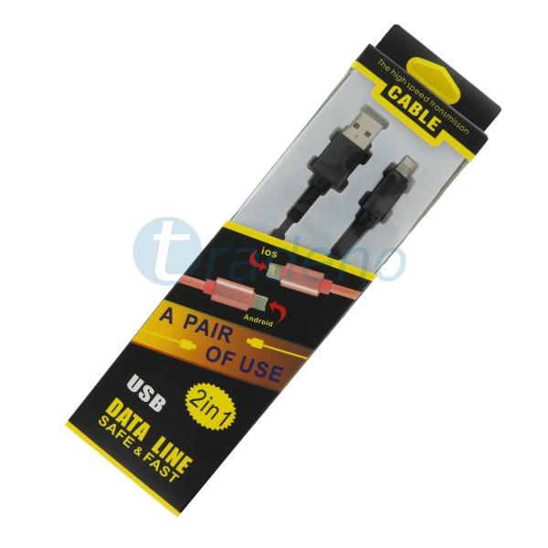 Cable 2in1 Datenkabel / Ladekabel - Micro USB - Lightning inkl. Lade-LED Schwarz