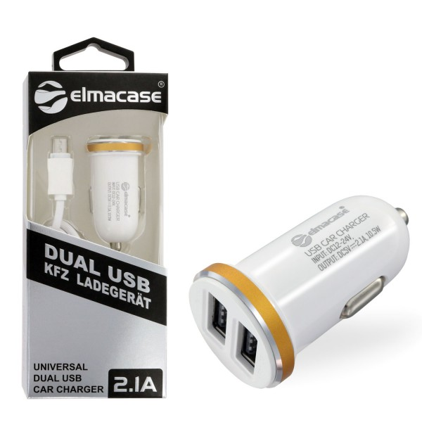 Elmacase KFZ Dual Port Ladegerät mit Micro USB Kabel Weiss
