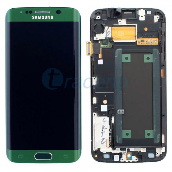 Samsung SM-G925F Galaxy S6 Edge - Display Einheit Grün - Touchscreen + LCD + Rah