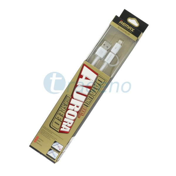 Remax Aurora 2in1 Datenkabel - Micro USB Ladekabel inkl. Lade-LED Silber