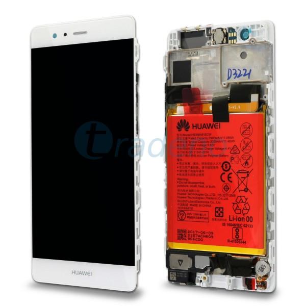 """Huawei Ascend P9 Display Einheit, LCD """"Bestückt"""" Serviceware, Weiss"""