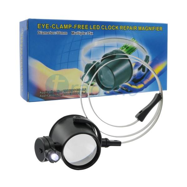 Vergrößerungsglas, Lupe 30mm 15x LED Eye-Clamp-Free für Reparatur