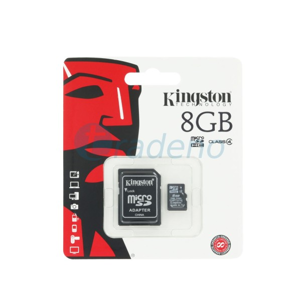Kingston Micro SD Speicherkarte inkl. SD Adapter, Klasse 4, 8 GB (SDC4/8GB)